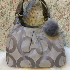 COACH MAGGIE Large Gray OpArt Signature Hobo 13894